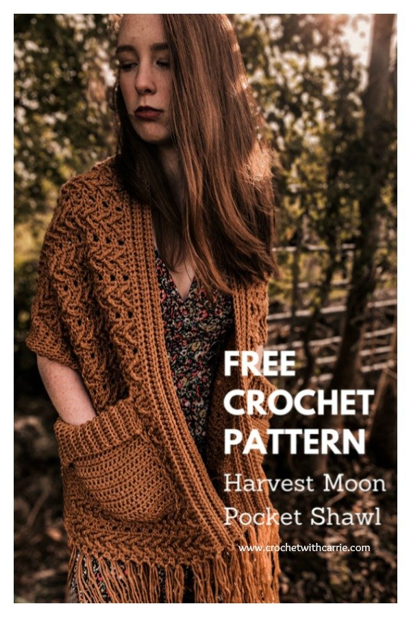 Harvest Moon Pocket Shawl Free Crochet Pattern and Video Tutorial