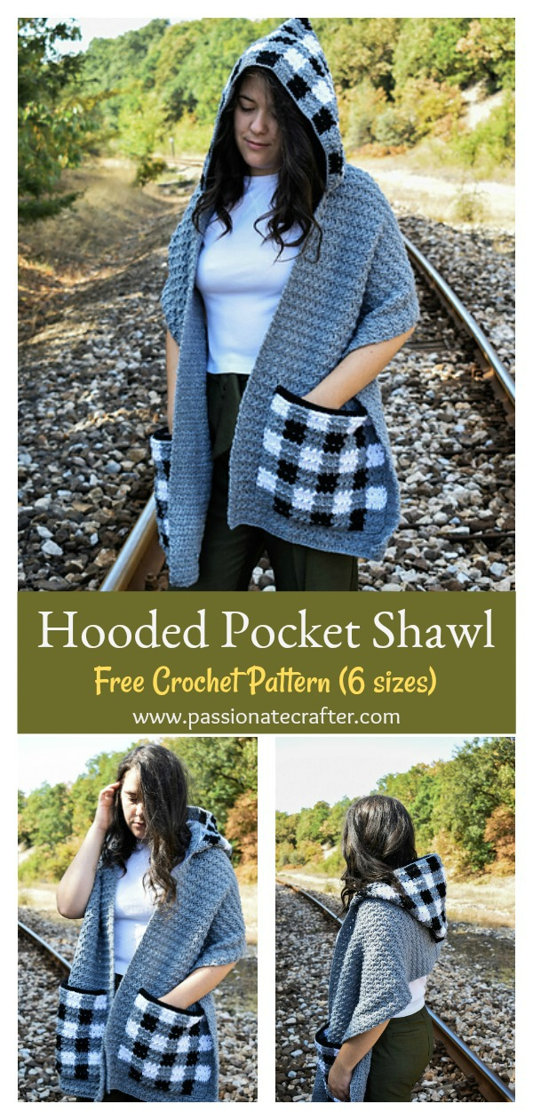 Hooded Pocket Shawl Free Crochet Pattern