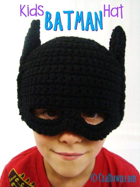 Çocuklar Batman Maske Şapka Ücretsiz Tığ Desen