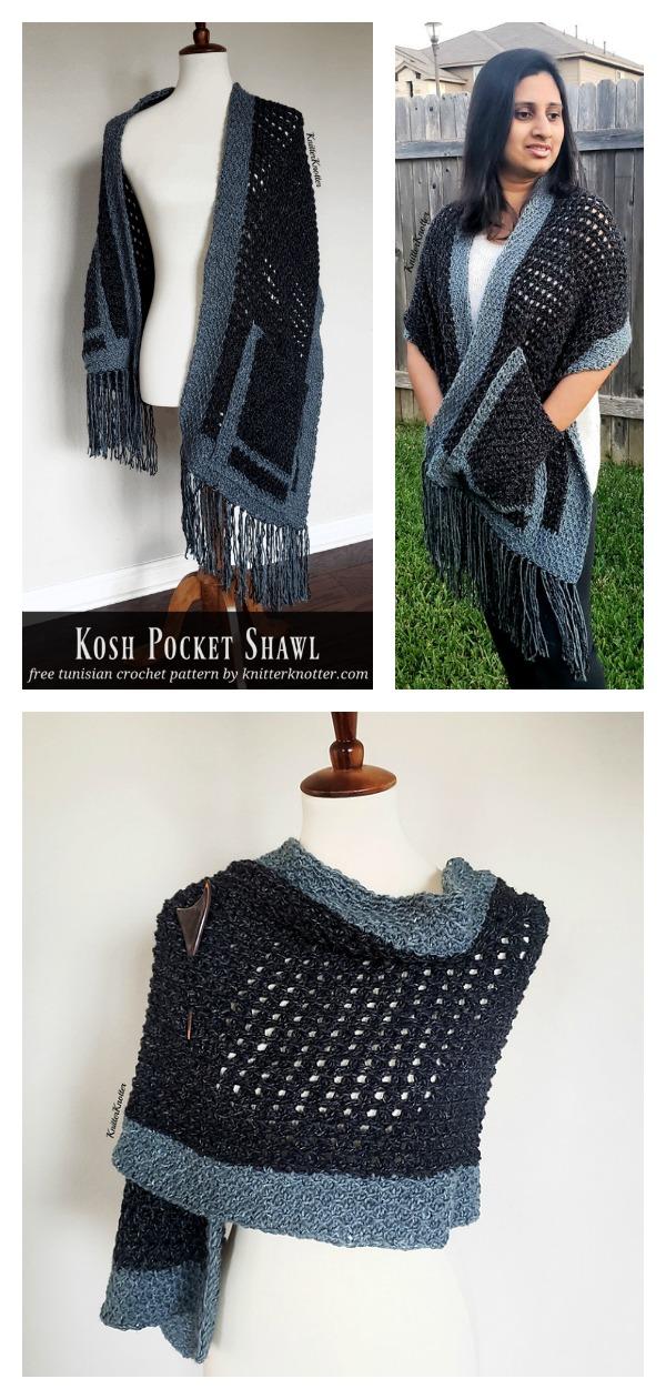 Kosh Tunisian Pocket Shawl Free Crochet Pattern