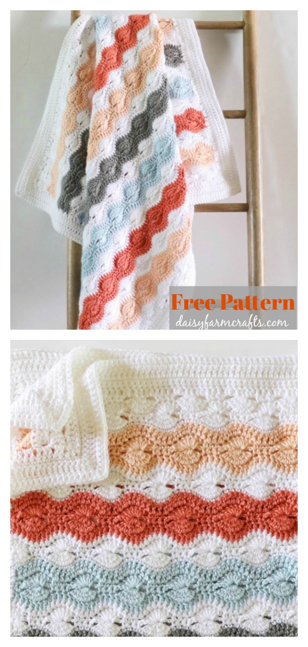 Modified Catherine's Wheel Stitch Baby Blanket Free Crochet Pattern