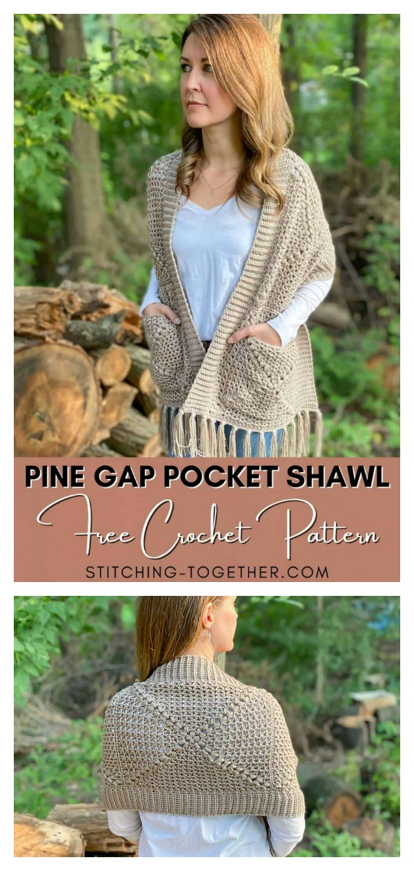Pine Gap Pocket Shawl Free Crochet Pattern