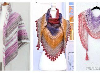 Puff Stitch Triangle Shawl Free Crochet Pattern