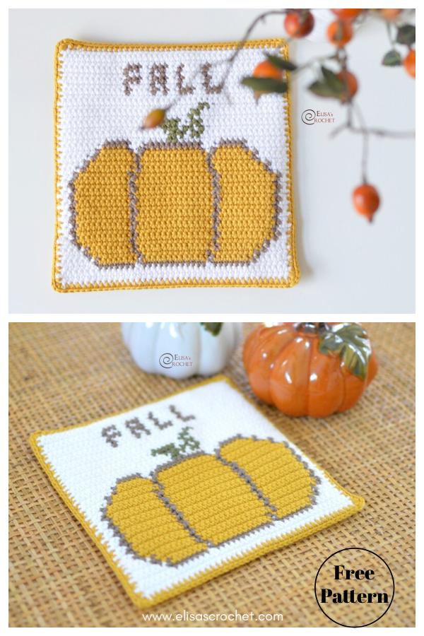 Pumpkin Decor Pot Holder or Coaster Free Crochet Pattern