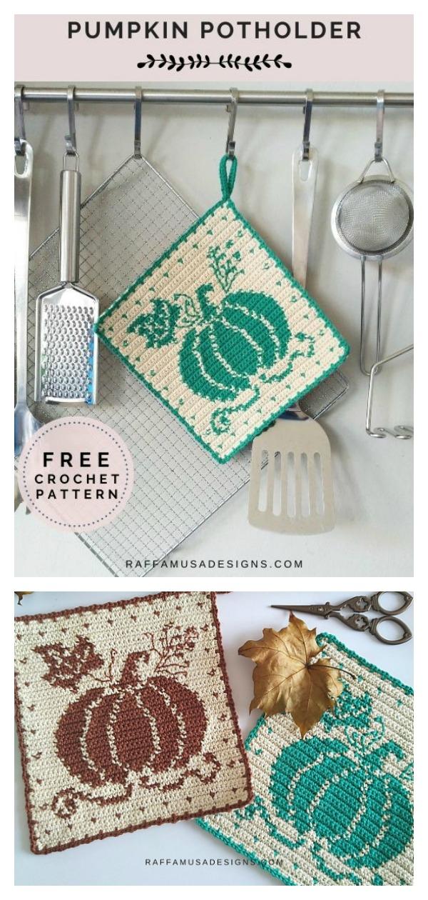 Pumpkin Potholder Free Tapestry Crochet Pattern
