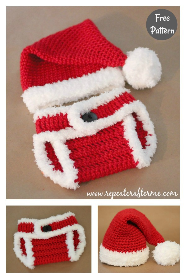 Santa Hat and Diaper Cover Free Crochet Pattern