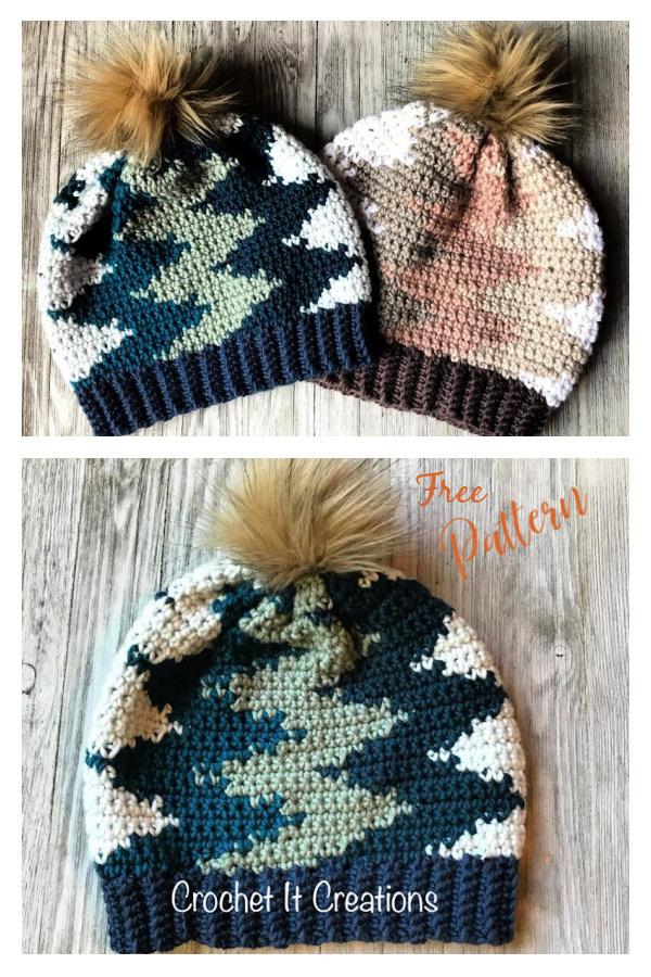 Vertical Chevron Beanie Free Crochet Pattern