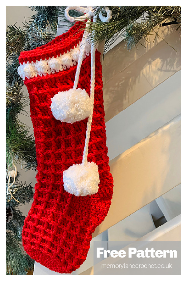 Waffle Christmas Stocking Free Crochet Pattern