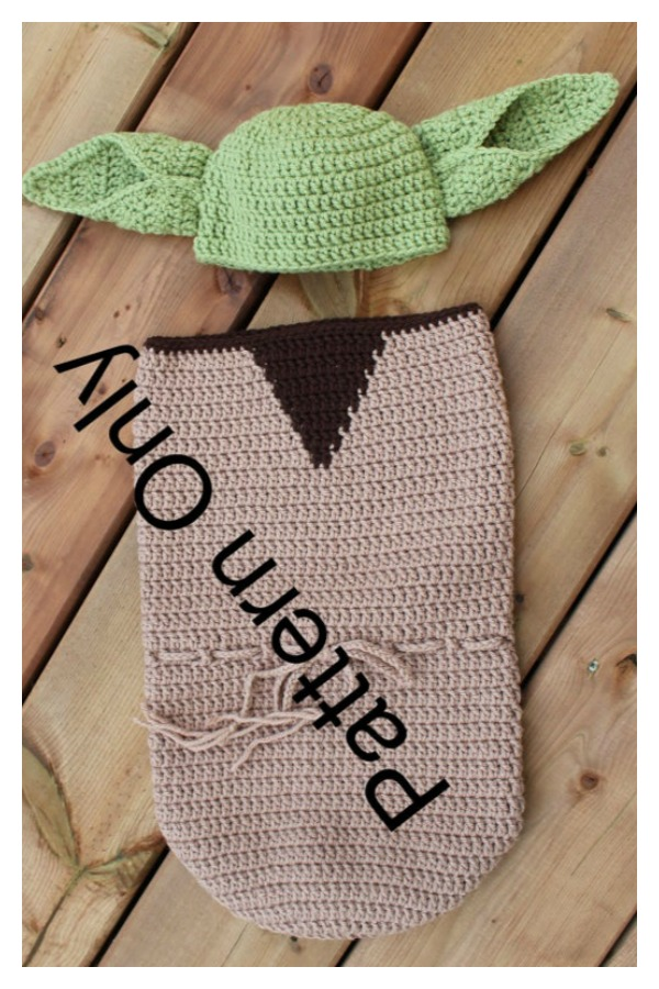 Yoda Newborn Cocoon & Hat Costume Crochet Pattern
