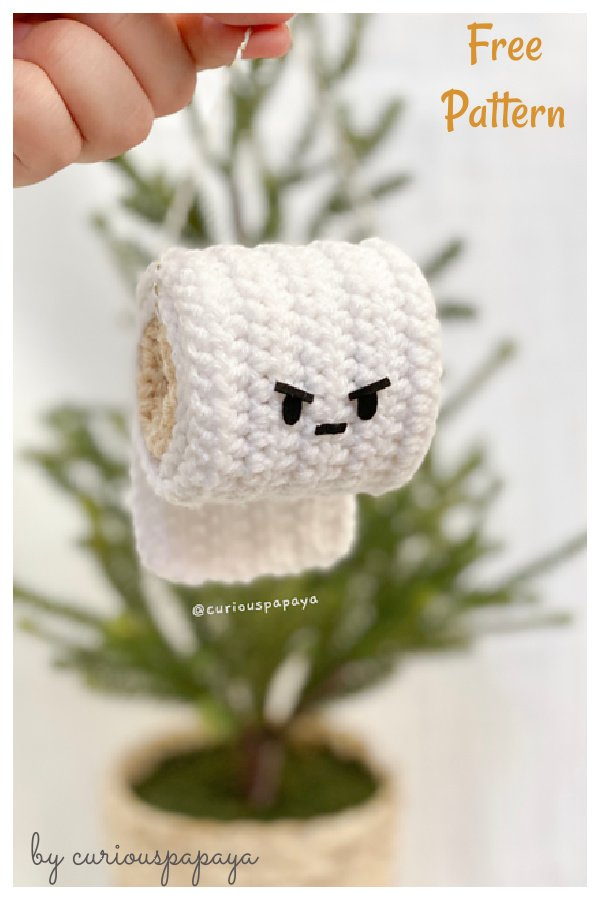 Angry Toilet Paper Ornament Free Crochet Pattern