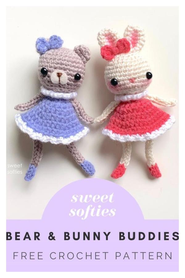 Bear and Bunny Buddies Free Crochet Pattern