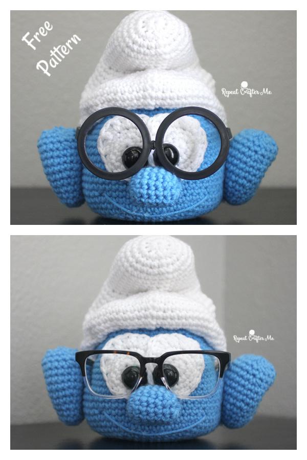 Brainy Smurf Glasses Holder Free Crochet Pattern