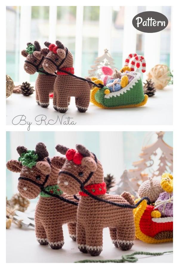 Christmas Reindeers with Sleigh Crochet Pattern