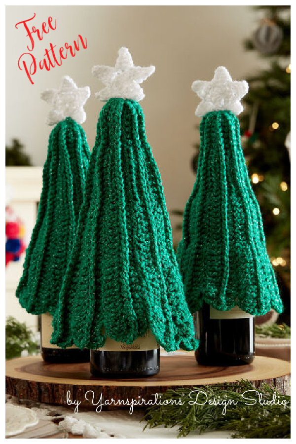Christmas Tree Bottle Topper Free Crochet Pattern