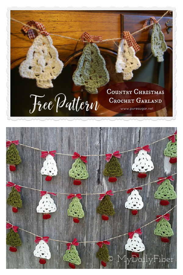 Noel Ağacı Garland Ücretsiz Tığ Desen