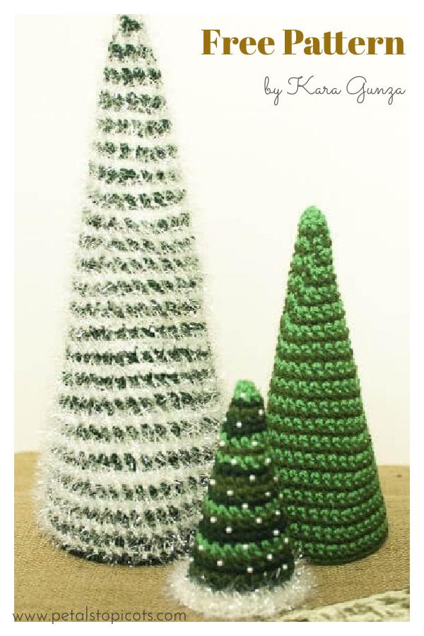 Cone Christmas Trees Free Crochet Pattern