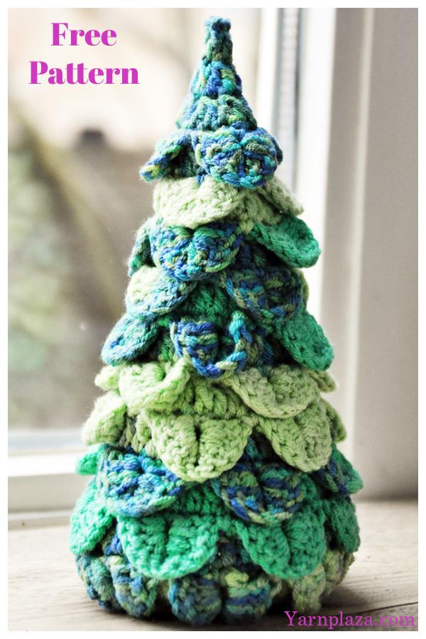 Crocodile Stitch Christmas Tree Free Crochet Pattern