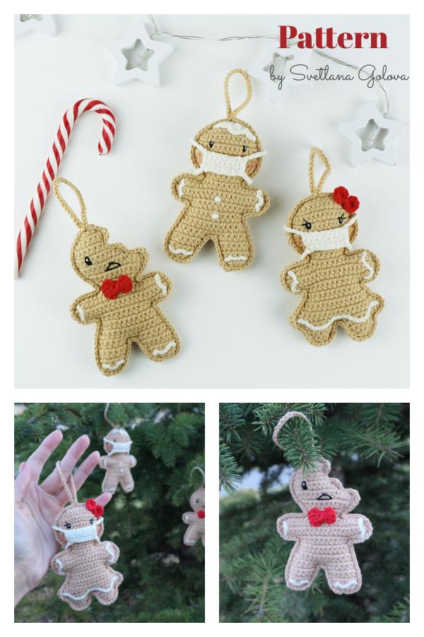 Gingerbread Man Christmas Tree Ornament Crochet Pattern
