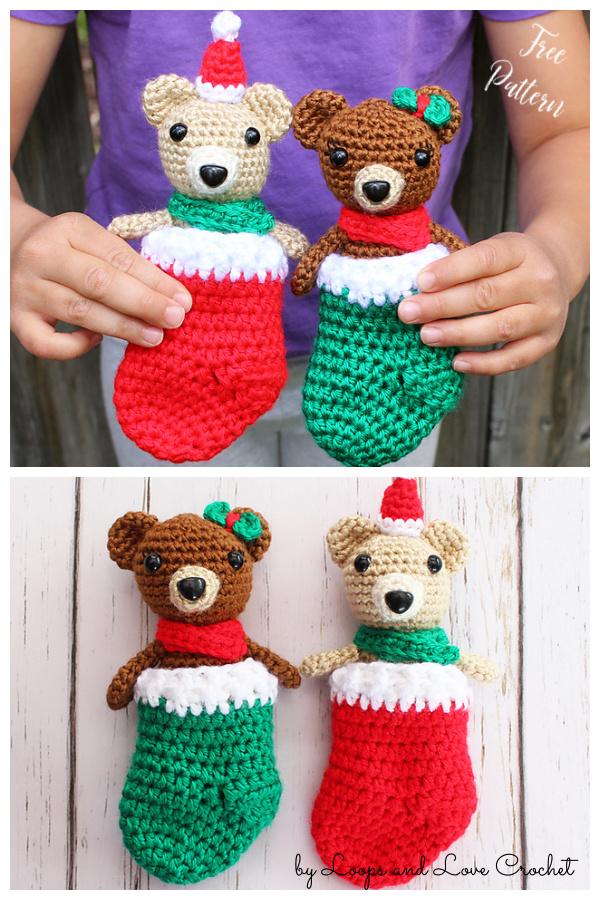 Mini Bear in Stocking Free Crochet Pattern