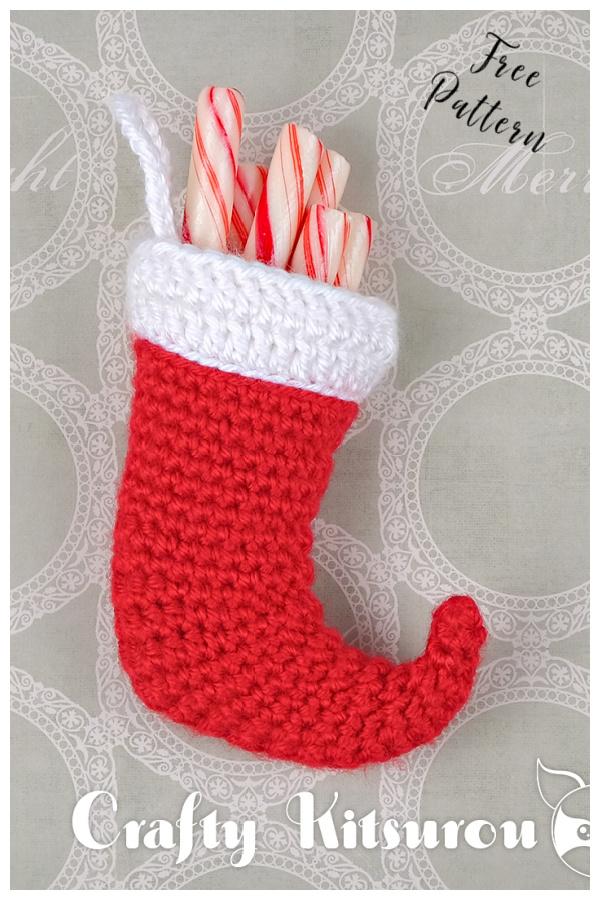 Mini Christmas Stocking Free Crochet Pattern