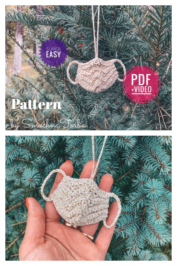 Mini Mask Christmas Ornament Crochet Pattern