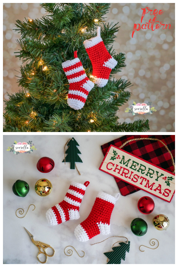 Mini Stockings Christmas Ornament Free Crochet Pattern