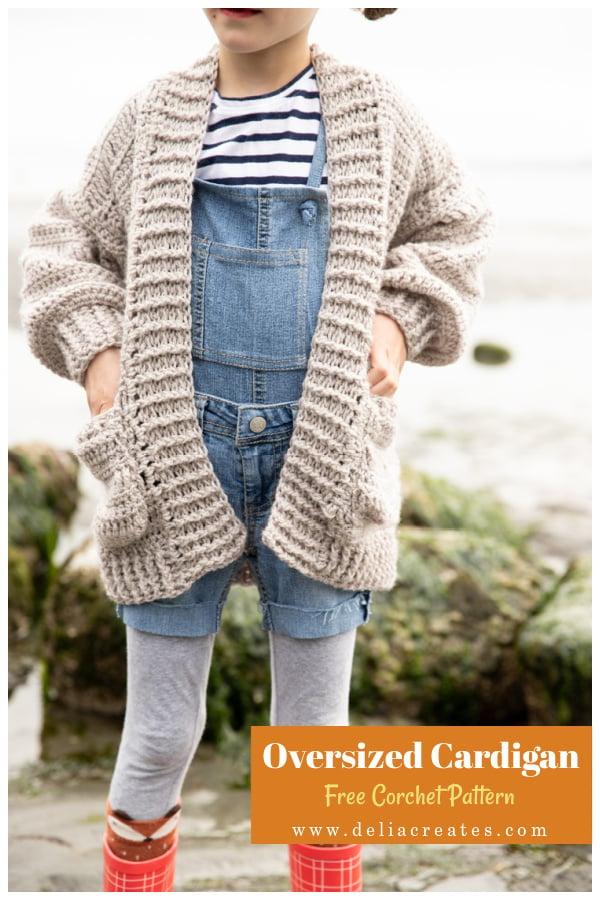 Oversized Kids Cardigan Free Crochet Pattern