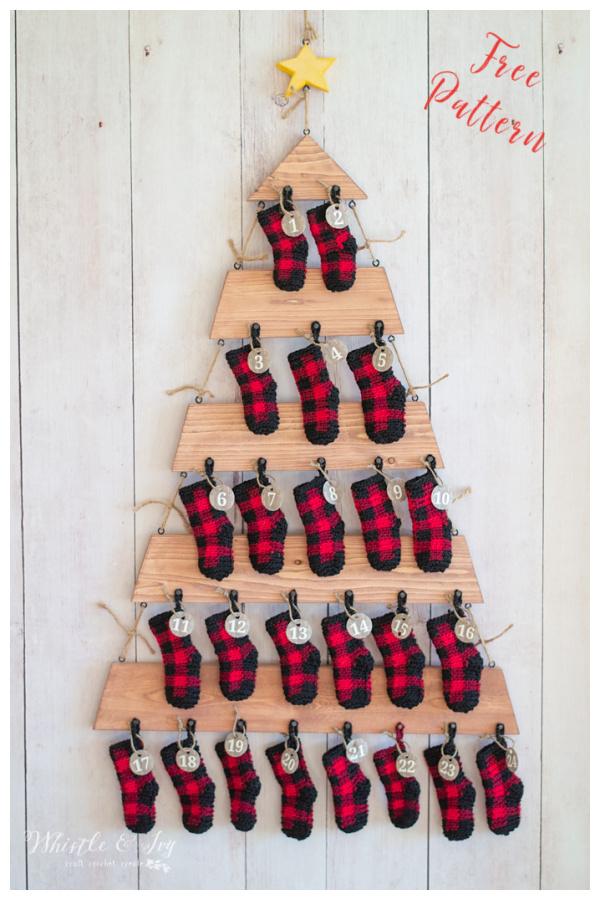 Plaid Mini Stockings Free Crochet Pattern