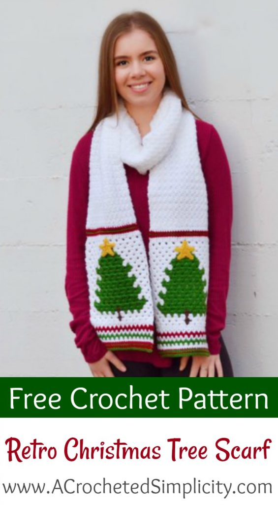 Retro Christmas Tree Scarf Free Crochet Pattern