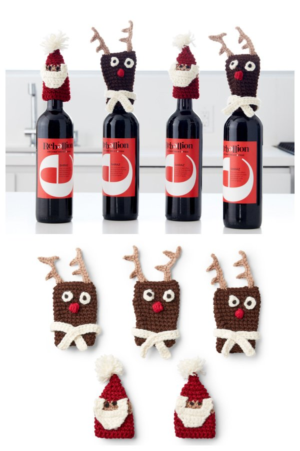 Santa Bottle Topper Free Crochet Pattern