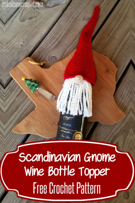 Scandinavian Gnome Bottle Topper Free Crochet Pattern