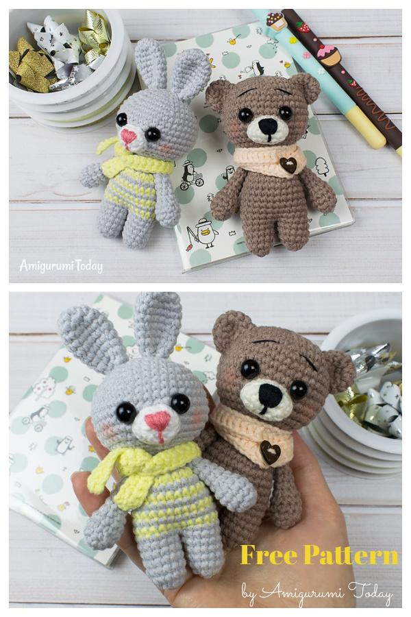 Tiny Amigurumi Bear and Bunny Free Crochet Pattern