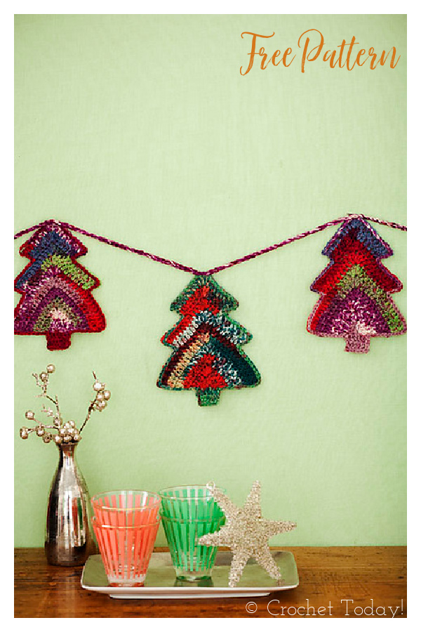 Tree Garland Free Crochet Pattern