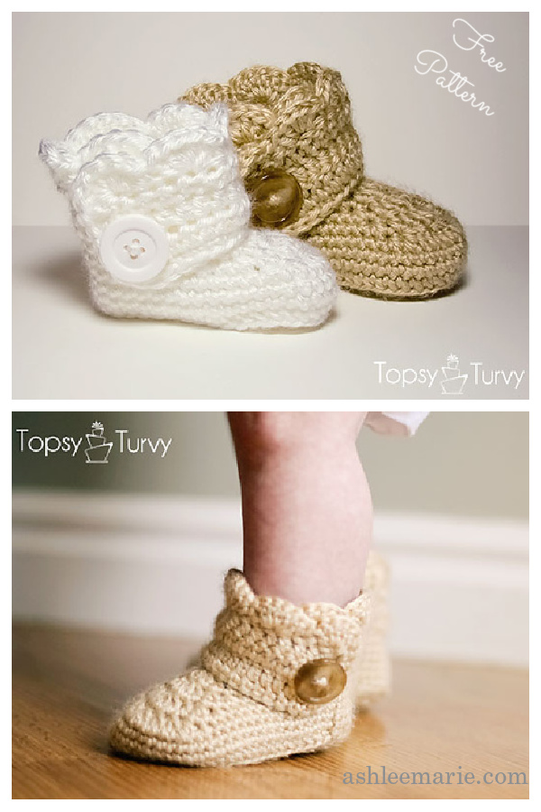 Wrap Around Button Baby Boots Free Crochet Pattern