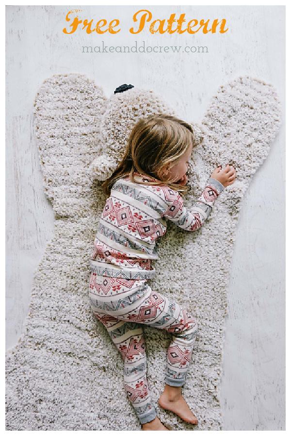 Bear Blanket Rug Free Crochet Pattern