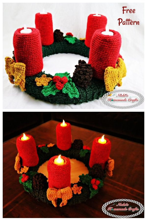 Candle with Flameless Tealights Free Crochet Pattern