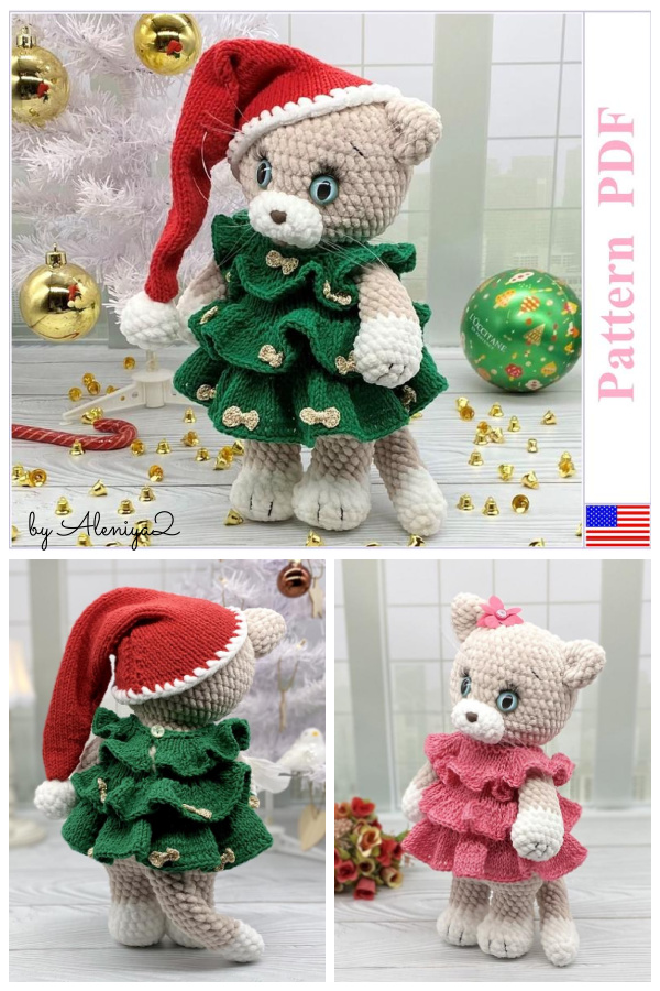 Christmas Cat Amigurumi Crochet Pattern