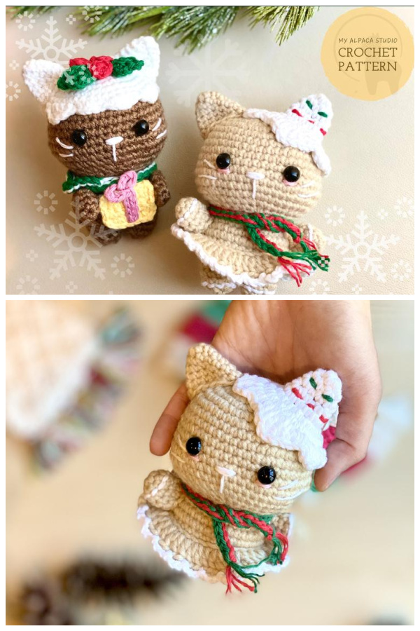 Christmas Cat Plushie Amigurumi Crochet Pattern