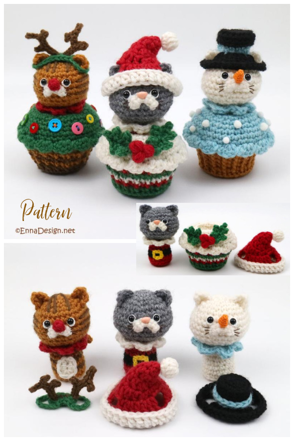 Christmas Cat in Cupcake Crochet Pattern