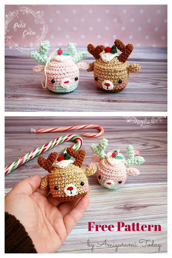 Christmas Deer Cupcake Ornament Free Crochet Pattern
