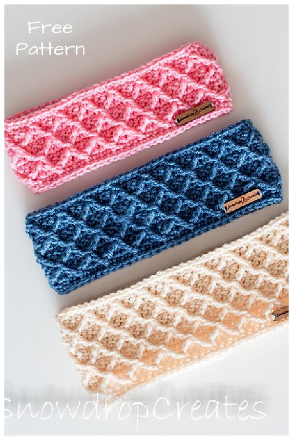 Diamonds Headband Free Crochet Pattern