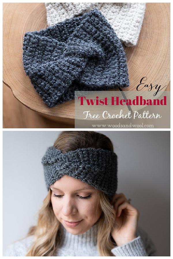 Easy Beginner Twist Headband Free Crochet Pattern