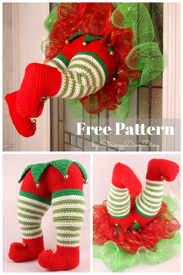 Elf Christmas Wreath Free Crochet Pattern
