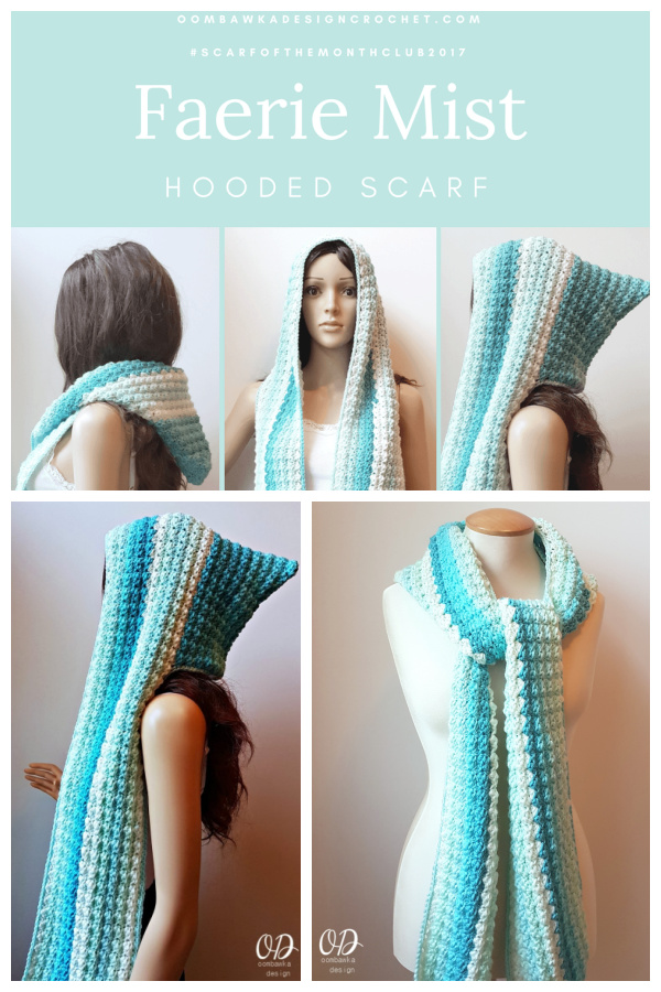 Faerie Mist Hooded Scarf Free Crochet Pattern and Video Tutorial