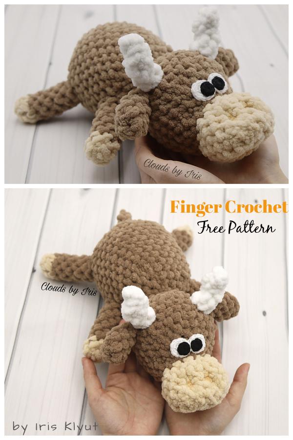 Finger Crochet Amigurumi Mini Bull Free Pattern
