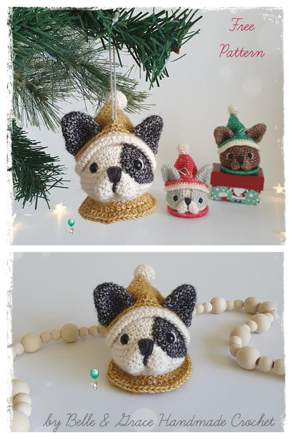Frenchie Christmas Bauble Ornament Free Crochet Pattern