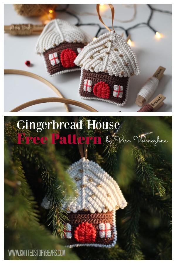 Gingerbread House Christmas Ornament Free Crochet Pattern