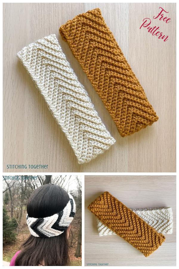 Gray Skies Chevron Headband Free Crochet Pattern