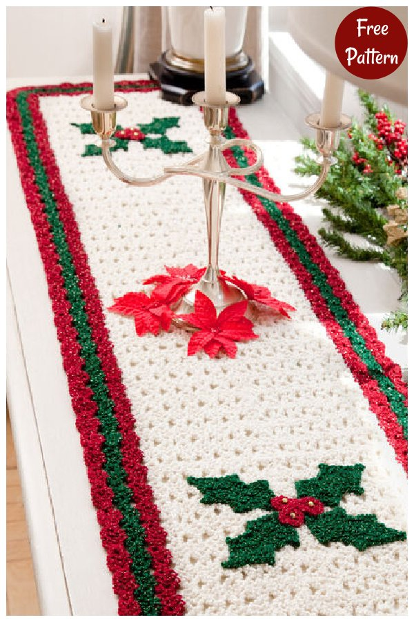 Holly Table Runner Free Crochet Pattern