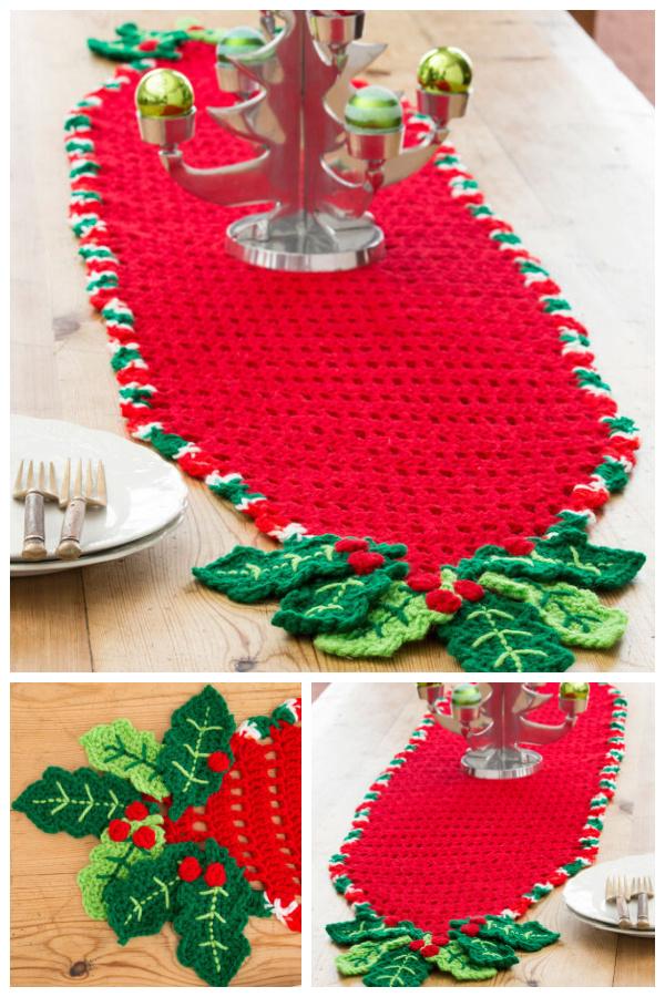 Holly Trim Table Runner Free Crochet Pattern